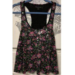 Forever 21 Black Pink Floral Sequin Flowy Tank Top